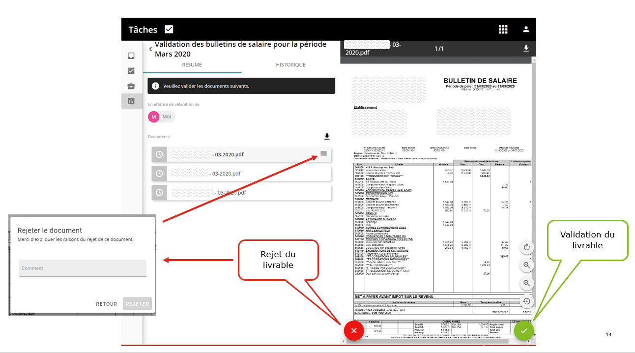 La validation sécurisée du bulletin